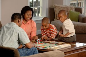 family playing numeracy game