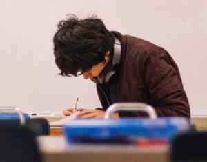 student taking literacy exam
