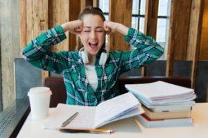 student cramming homework